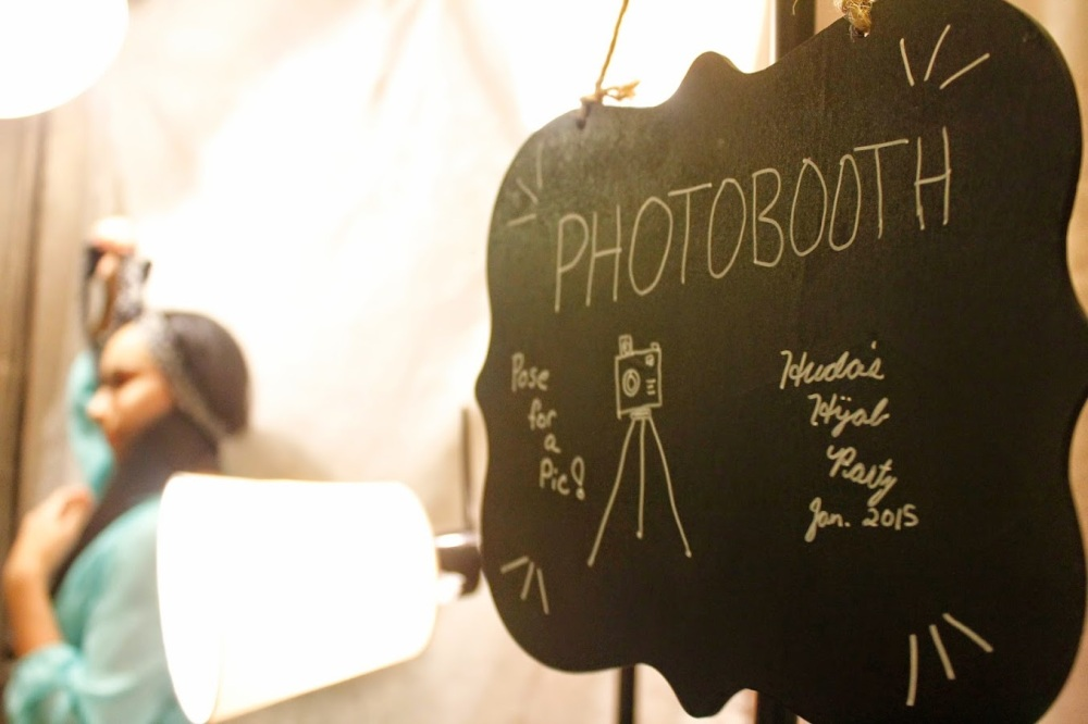 DIY photo booth set-up at a hijab party