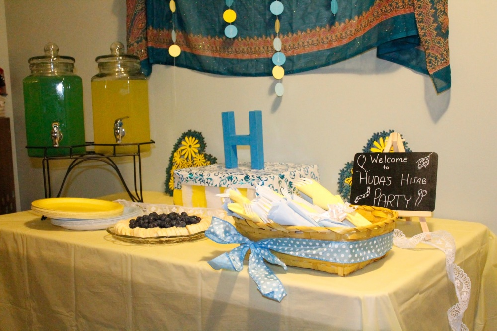 Turquoise and Yellow Hijab Party Theme Decor, Table Set-Up