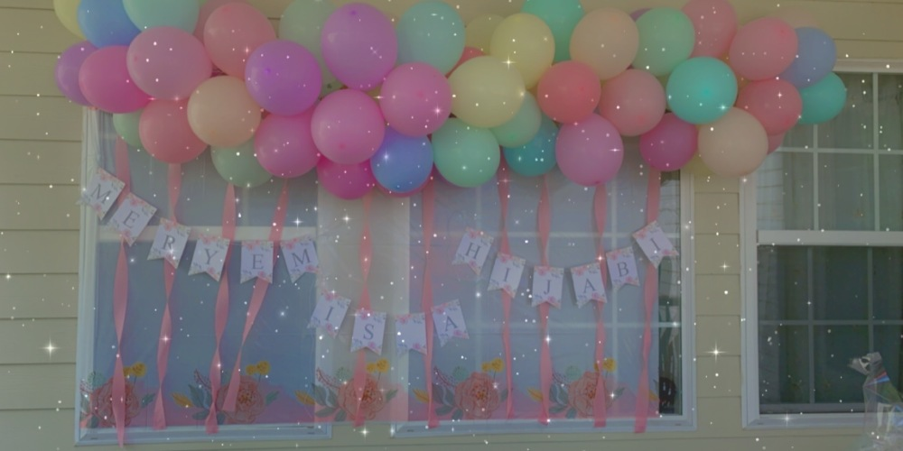 Hijab Party Decor Idea: Pastel-Colored Balloon Garland Theme with Banner